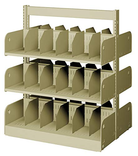 Starter Shelving Face - 36' x 20' x 42' Double Face Starter Divider Library Shelving with 6 Shelves, Ch/Putty