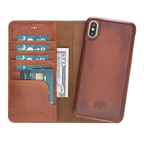 Pieno Full Leather Covered 2 in 1 Detachable Leather Wallet Case with Magnetic Flap Closure & Premium Snap-on Case, Book Style Cover Compatible with Apple iPhone Xs MAX (Burnished Tan)