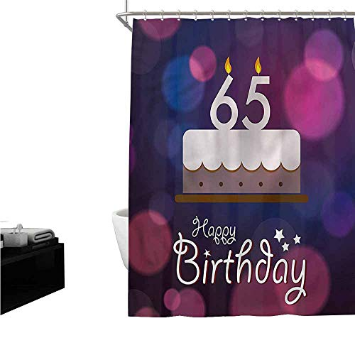Jiahong Pan 65th Birthday,Printed Shower Curtain Ceremony Theme Cake for Bathroom,Multicolor,W72 xL96 -