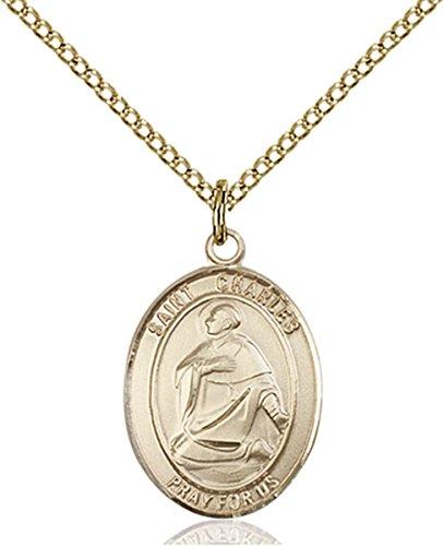 Saint Charles Borromeo Medals - 14K Gold Filled Saint Charles Borromeo Medal Pendant, 3/4 Inch