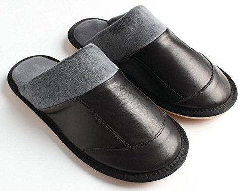 a W domestico pavimento pelle Inverno 43 pantofole di interno scarpe il inferiore black tendine cotone parte maschio amp;XY xr7WBSWX0
