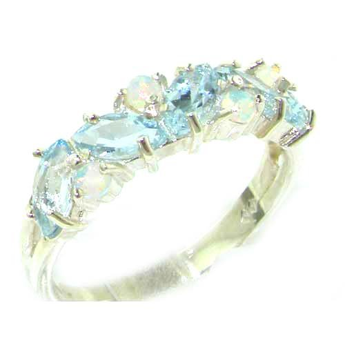 Solid Sterling Silver Natural Fiery Opal & Aquamarine Eternity Band Ring - Size 11.75 - Sizes 5 to 12 by LetsBuySilver