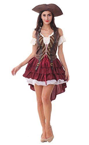 Size Zombie Nurse Uk Plus Costume (Maybest Halloween Costume Women Dress Adult Cosplay Party Easter Sexy Pirate Masquerade Performance Clothes Pirate Grey One Size)