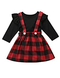 Infant Baby Toddler Girls Long Sleeve T-Shirt with Red Plaid Suspender Overall Dress Christmas Outfits