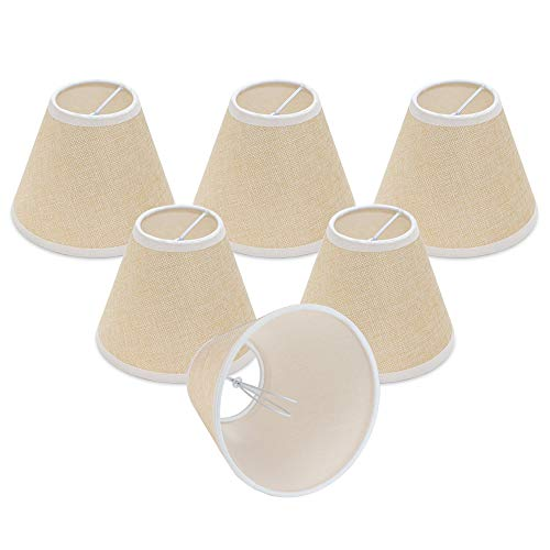 - Wellmet Rustic Small Chandelier Lamp Shades Clip on, Natural Linen Lamp Shade Set of 6 for Dining Room, Brown Lamp Shade for Table Lamp 3