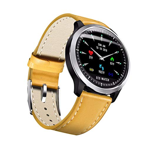 Amazon.com: Smart Watches HYLG ECG Pulsera Inteligente ECG+PPG Monitor Ritmo Cardíaco Fitness Reloj HRV Pulsera Prueba Presión Arterial IP67 (Color : Silver ...