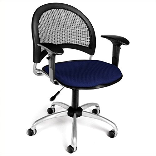 (OFM 336-AA3-2203 Moon Swivel Chair with Arms, Navy)
