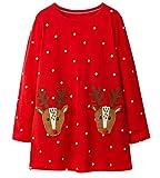 LYXIOF Girls Christmas Cotton Long Sleeve Casual Dress Toddler Reindeer Cartoon Applique Dresses D 3T