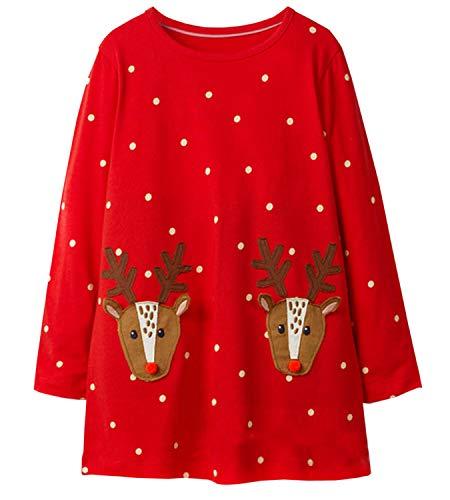 LYXIOF Girls Christmas Cotton Long Sleeve Casual Dress Toddler Reindeer Cartoon Applique Dresses D 5T ()