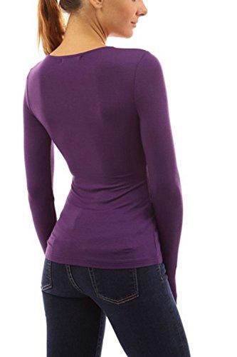 Manga larga con cuello en v sastre de la mujer cabido blusa Casual Purple