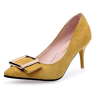 StöckelabsatzSchwarz Damen Yellow Normal amp; Zehen Walking Pumps Party Gelb eu35 uk3 High Metall Rot cn34 Pumps Wildleder LvYuan Heels Sommer GGX Kleid Festivität Hochzeit us5 85RqWwPT