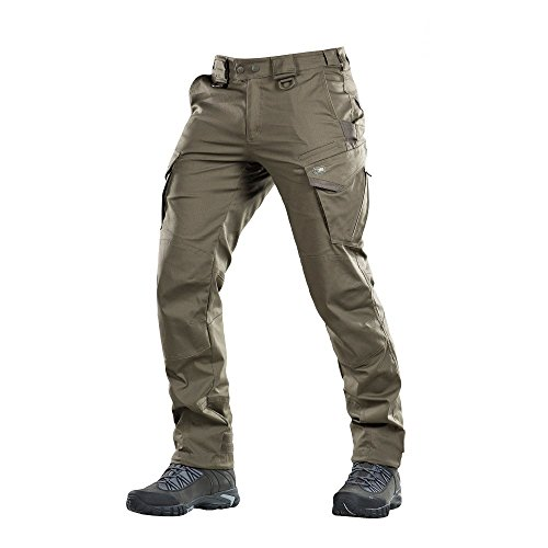 - Aggressor Flex - Tactical Pants - Men Cotton Cargo Pockets (Olive Dark, M/R)