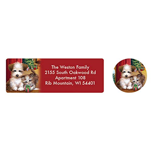 Kitten Address Labels - Personalized Puppy and Kitten Labels & Seals – Includes a Set of 20 Holiday Self-Stick Sheeted Labels Sized at 2 ½ in. Long x 1 in. Wide and Matching Seals