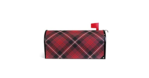 Amazon.com: Senuu Red Grid Lattice Magnetic Mailbox Cover ...