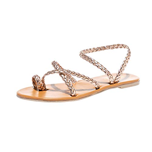 c6e14fa5fecfbb Tsmile Women Sandals Ladies Summer Roman Shoes Solid Color Flat Crystal  Slippers Beach Sandals