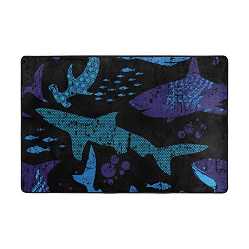 (CANCA Abstract Shark Ocean Sea Animal Fish Area Rug Runner Floor Mat Doormat Carpet Cover Pad for Kids Boys Girls Bedroom Living Room Dining Hall 80x58 inch or 6.7x4.8 Feet)