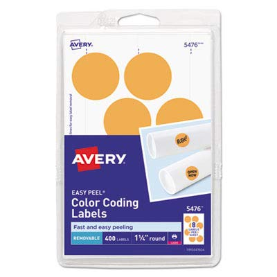 Avery Round Color Coding Multipurpose Label - 1.25quot; Diameter - 400 / Pack - Circle - 12/Sheet - Laser - Orange (Multi Coding Labels Color Purpose)