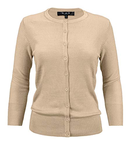 - YEMAK Women's 3/4 Sleeve Crewneck Button Down Knit Cardigan Sweater CO079-TPE-L Taupe