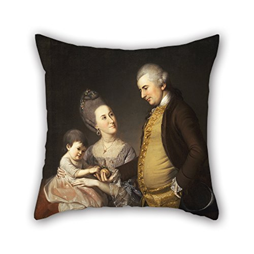 18 X 18 Inches / 45 By 45 Cm Oil Painting Charles Willson Peale, American - Portrait Of John And Elizabeth Lloyd Cadwalader And Their Daughter Anne Cushion Cases Both Sides Is Fit For Gril Friend