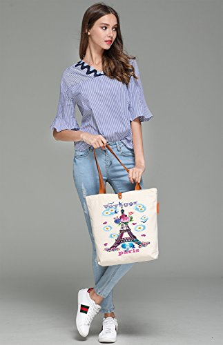 So'each Women's Voyager Tower Graphic Top Handle Canvas Tote Shoulder Bag