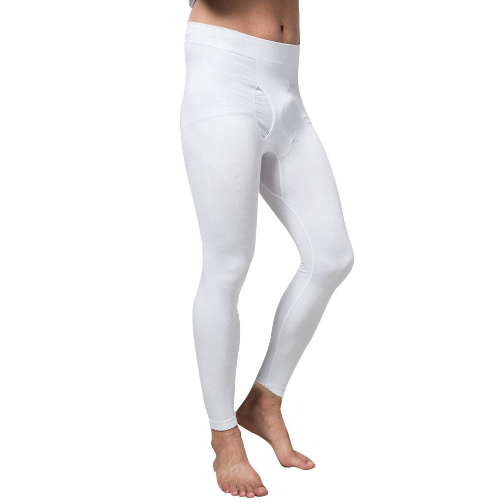 AHAYAKU Men Nine Point Trousers Comforts Underpants Motion Legging Lifting Buttock Tight 2019 Summer White by AHAYAKU