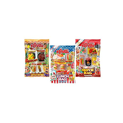 eFrutti Original Mini Gummi Lunch Bag, Movie Bag & Mexican Dinner Bag Bundle - 2.7oz Each (3 Pack, 1 of Each) ()