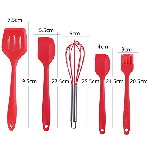 Silicone Spatula Non-Stick Rubber Spatulas Set Food Grade Heat-Resistant Silicone Baking Spatula for Cooking Baking and Mixing Kitchen Cooking Utensil Set of 5 (red)
