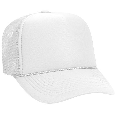 (OTTO Polyester Foam Front 5 Panel Pro Style Mesh Back Trucker Hat - White )