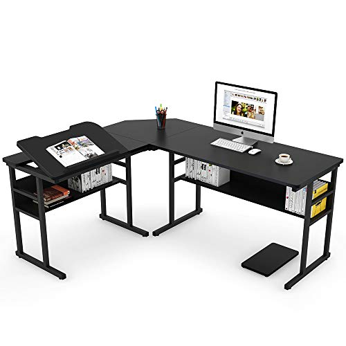 Tribesigns Modern L-Shaped Desk with Bookshelf, 67 inch Double Corner Computer Office Desk Workstation Drafting Drawing Table with Tiltable Tabletop for Home Office (Black) ()