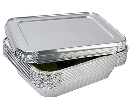 eHomeA2Z Aluminum Foil Pans With Lids Half Size 10 Pack 9 x 13
