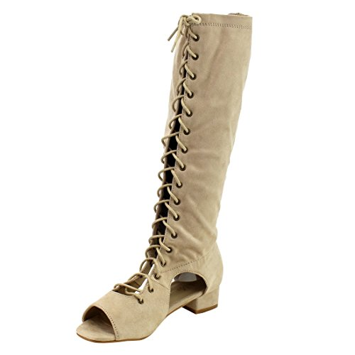 BELLA MARIE IB91 Womens Lace Up Side Cut Wrapped Chunky Heel Knee High Boots Beige MQmtWJ