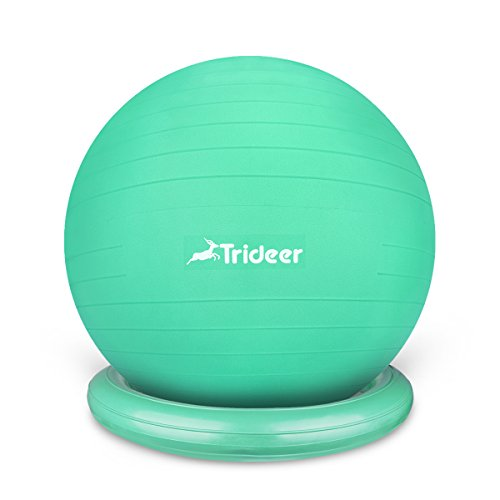 Trideer Exercise Ball Chair, 65cm&75cm Stability Ball with Ring & Pump, Flexible Seating, Improves Balance, Core Strength & Posture (Office & Home & Classroom) (Ball with Ring (Mint Green), 65cm) by Trideer