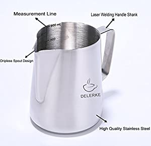 Milk Frothing Pitcher Stainless Steel Measurements On Side Creamer Frothers Cup With Latt Art Pen
