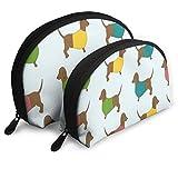 Makeup Bag Dachshund Dog Cartoon Portable Half Moon Toiletry Bags Holder For Women