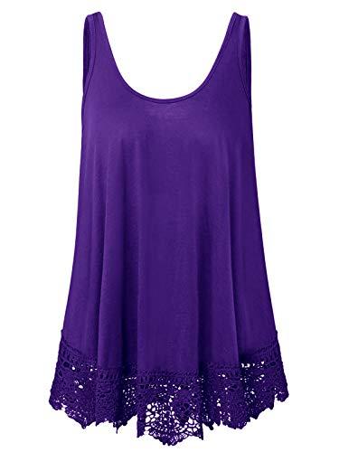 Plus Size Swing Lace Flowy Tank Top Summer Tunic Shirt for Women (Purple, 4X)