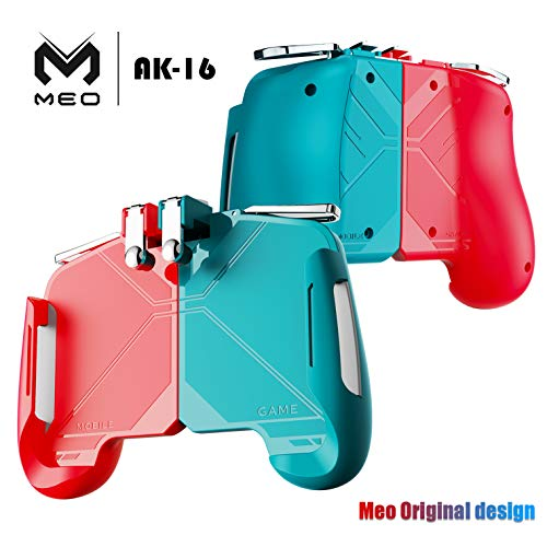 MEO Mobile Game Controller – Multi Color Combinational Mobile Trigger with Sensitive Shoot and Aim Game Triggers Compatible for iPhone/Android(Red & Blue)