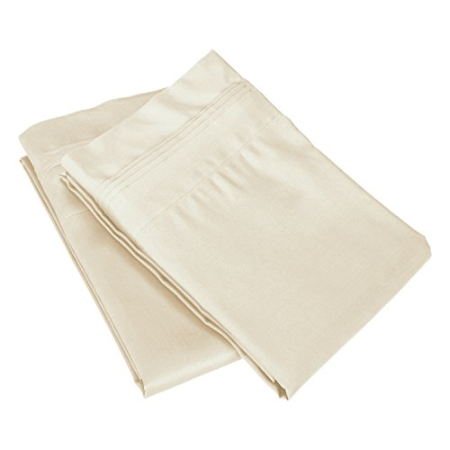 Superior 100% Egyptian Cotton 650 Thread Count, King 2-Piece Pillowcase Set, Single Ply, Solid, Ivory from Superior