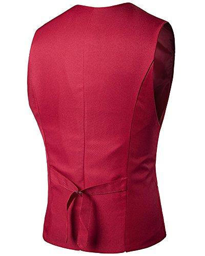 Diseñado Rojo Con Formal Superior Trabajo Botones Parte Chaleco Casual La Hombres v8qwUtfU