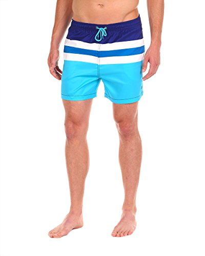 Cabana Bro Men's Swim Short - The Classics Striped Swim Trunk, Large