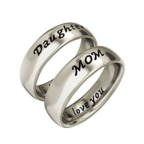 EVBEA Mother Daughter Gifts Antique Family Jewelry White Gold Color Band Ring Set Engraved ' I Love You Mother's Day with Gifts Box