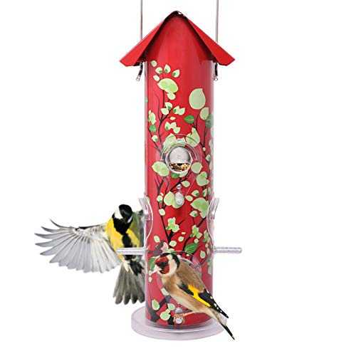 (Kingsyard Bird Feeders for Outside Hanging Metal Tube Bird Feeder with 6 Feeding Ports and Perches, 1lb Seed Capacity for Finch, Cardinal (Red))
