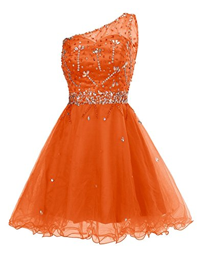 Shoulder Beaded Prom Gowns Orange Womens ALAGIRLS Homecoming Cocktail Short One Tulle Dress waXT5x8Tq