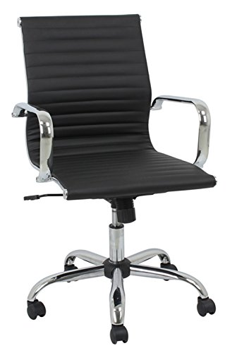 Kathy Ireland Upholstered Chair (Kathy Ireland ki9250M the Accountant Bonded Leather Mid-Back Manager Chair, Black)