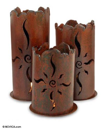Metal Spiral Candlestick (NOVICA Decorative Metal Wall Candle Holder, Brown, 'Sun)