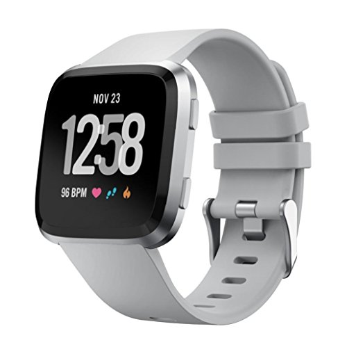 Price comparison product image Tiean For Fitbit Versa,  Small Soft Silicone Replacement Sport Classic Band Strap (Gray)
