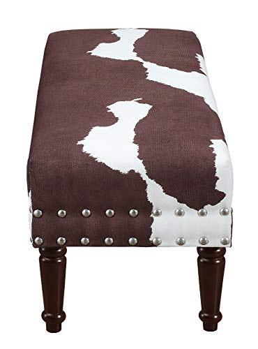 Convenience Concepts 163923BNFCH Designs4Comfort Bench with Nailheads, Brown Faux Cowhide by Convenience Concepts (Image #3)