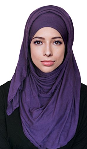 Hana's Womens Cotton Jersey Hijab Scarf (One Size, White) (Jersey Cotton Scarf)