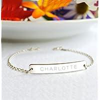 Personalised Sterling Silver Name Bar Bracelet, silver bar bracelet, name bar bracelet, personalised bracelet, custom bar bracelet, bridesmaid gift