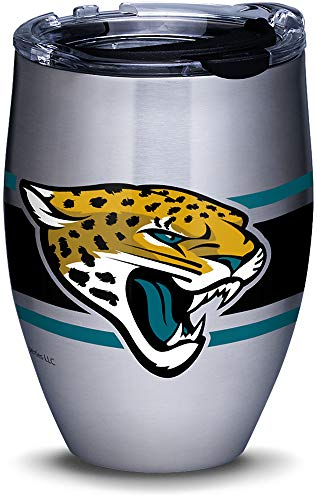 Tervis 1317549 NFL Jacksonville Jaguars Stripes Insulated Travel Tumbler with Lid 12oz - Stainless Steel - Travel Tumbler Jaguars Jacksonville