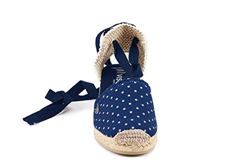 VISCATA Escala 2.5 Heel, Soft Ankle-Tie, Closed Toe, Classic Espadrilles Heel Made in Spain Blue